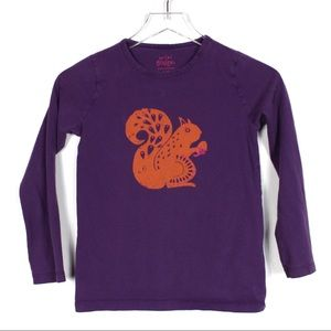 Mini Boden 9-10Y Purple Orange Squirrel Shirt Top